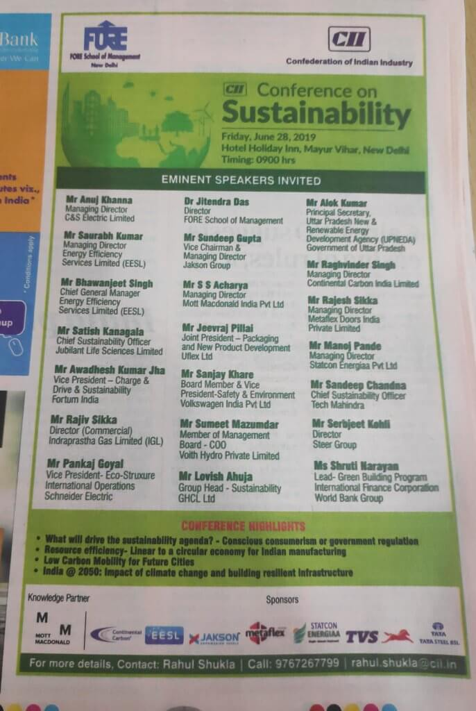 Advertisement in Business Standard